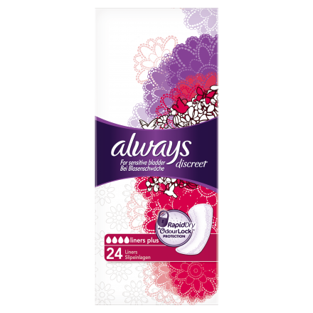 96 St. always Discreet Inkontinenz Liner Plus 24er Pack x 4