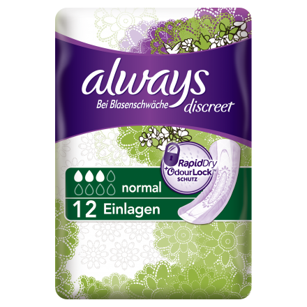 48 St. always Discreet Inkontinenz Normal 12er Pack x 4
