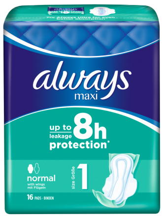 256 St. always Maxi Binden Normal mit Flügeln 16er Pack x 16