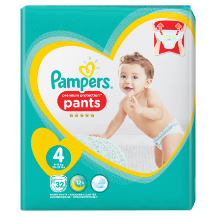 Pampers Premium Protection Pants Gr.4 Maxi 9-15kg Value Pack, 32 Stück