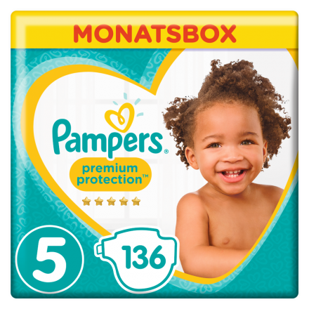 Pampers Premium Protection Gr. 5 Junior 11-16kg MonatsBox, 136 Stück