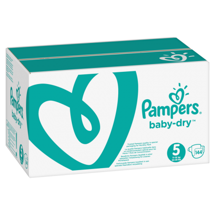 Pampers Baby Dry Gr.5 Junior 11-16kg MonatsBox, 144 Stück