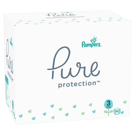 Pampers Pure Protection Gr. 3 Midi 6-10 kg MonatsBox, 180 Stück