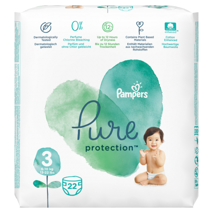 Pampers Pure Protection Gr. 3 Midi 6-10 kg Tragepack, 22 Stück