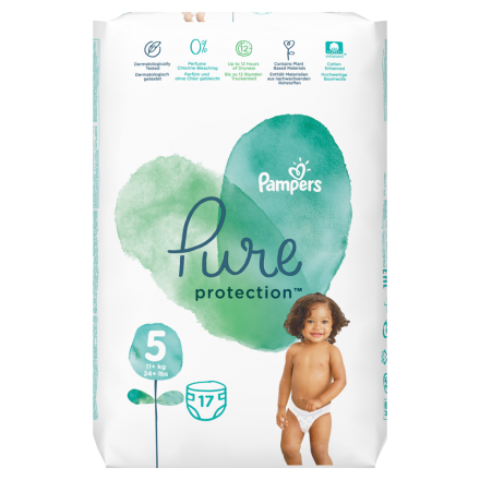Pampers Pure Protection Gr. 5 Junior 11+ kg Tragepack, 17 Stück