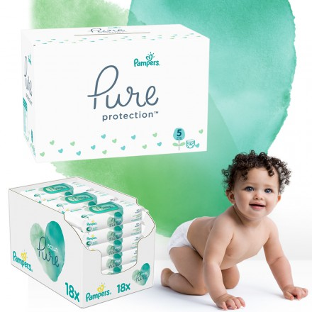 Pampers Pure Protection Monatspack: 132 St. Windeln Gr.5 + 864 St. Feuchttücher