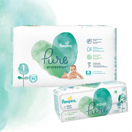 Pampers Pure Protection Probierpack: 35 St. Windeln Gr.1 + 96 St. Feuchttücher