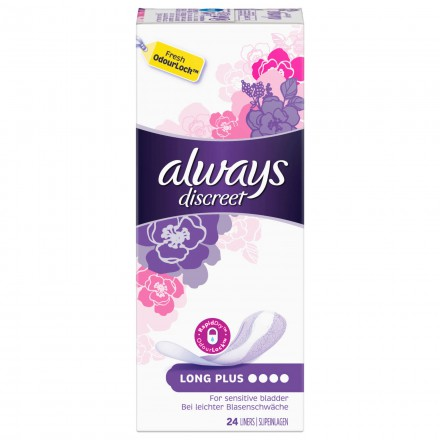96 St. always Discreet Inkontinenz Slipeinlage Long Plus 24er Pack x 4