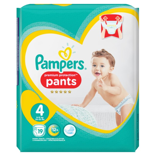 Pampers Premium Protection Pants Gr.4 Maxi 9-15kg Tragepack, 19 Stück Windeln