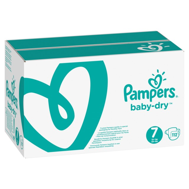 Pampers Baby Dry Gr.7 Extra Large 15+kg MonatsBox, 112 Stück Windeln