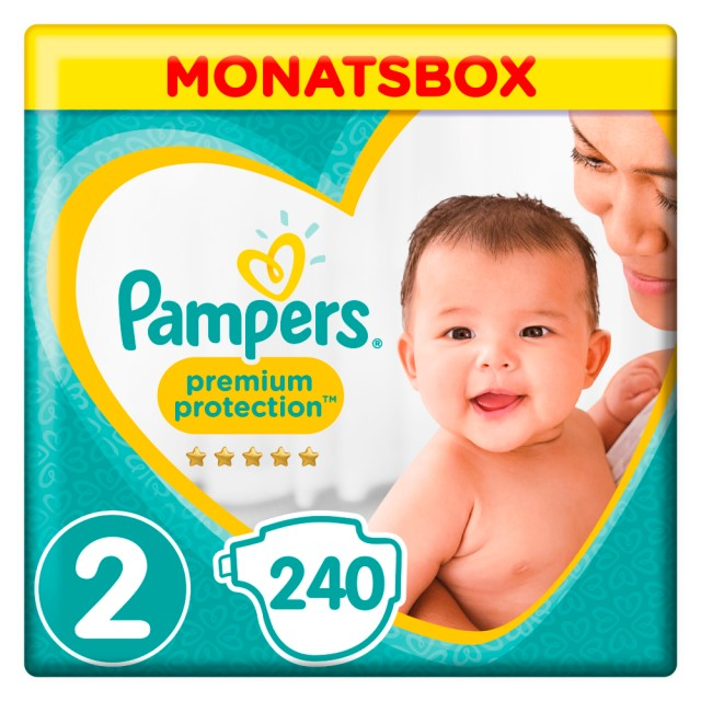 Pampers Premium Protection New Baby Gr.2 Mini 4-8kg MonatsBox, 240 Stück Windeln