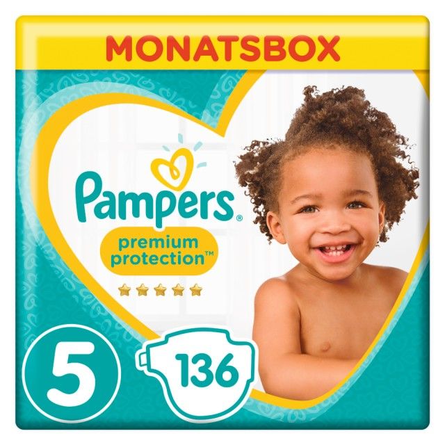 Pampers Premium Protection Gr. 5 Junior 11-16kg MonatsBox, 136 Stück Windeln