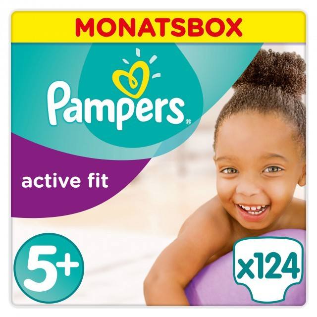 Pampers Active Fit Gr.5+ Junior Plus 12-17kg MonatsBox, 124 Stück Windeln