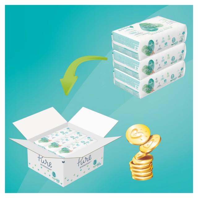Pampers Pure Protection Gr.1 Newborn 2-5 kg MonatsBox, 102 Stück
